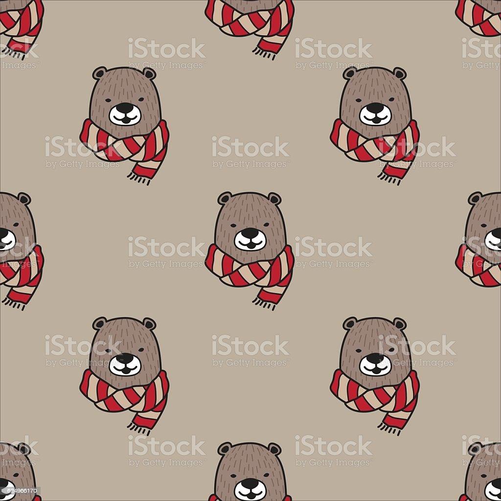 Bear Scarf Seamless Vector Pattern vector art illustration