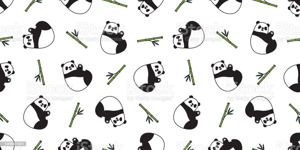 Bear Seamless Panda Vector Polar Bear Pattern Bamboo Teddy Scarf