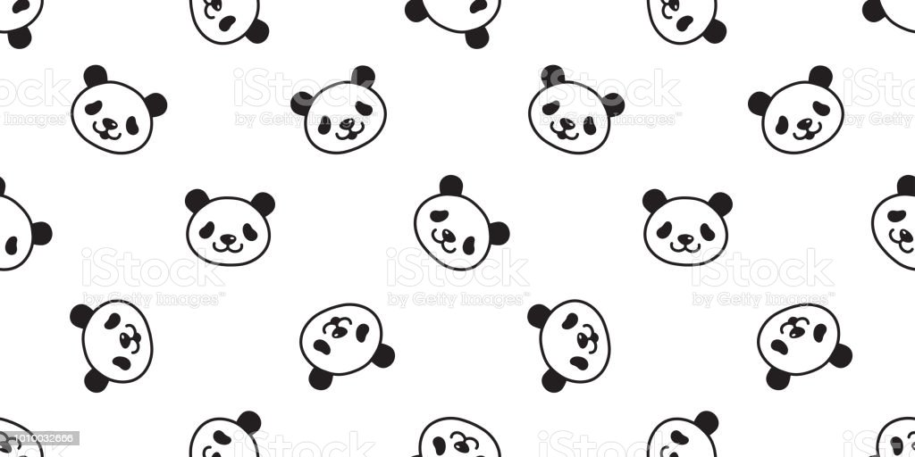 bear seamless panda vector polar bear pattern teddy scarf isolated tile background cartoon repeat wallpaper doodle