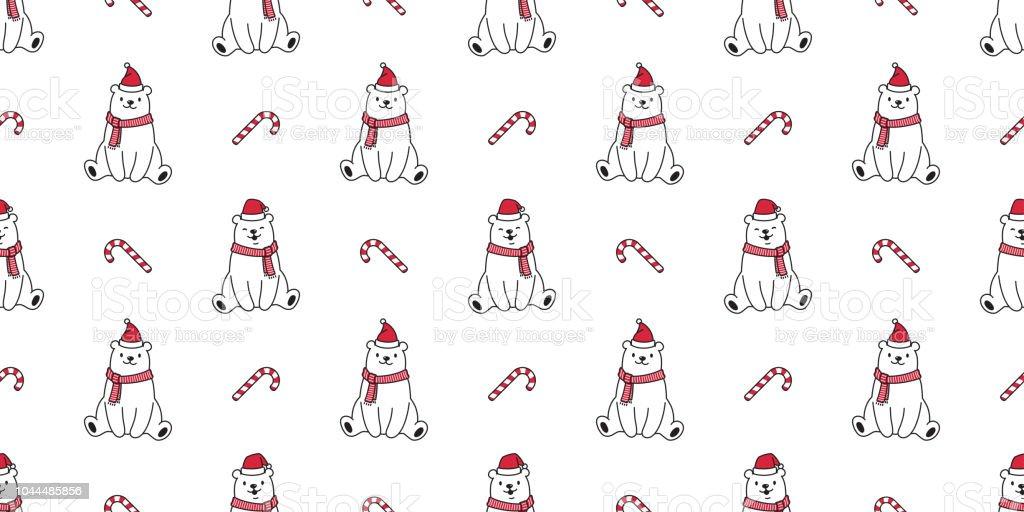 Nahtlose Muster Weihnachten Vektor Eisbär Weihnachtsmann Xmas Hut ...