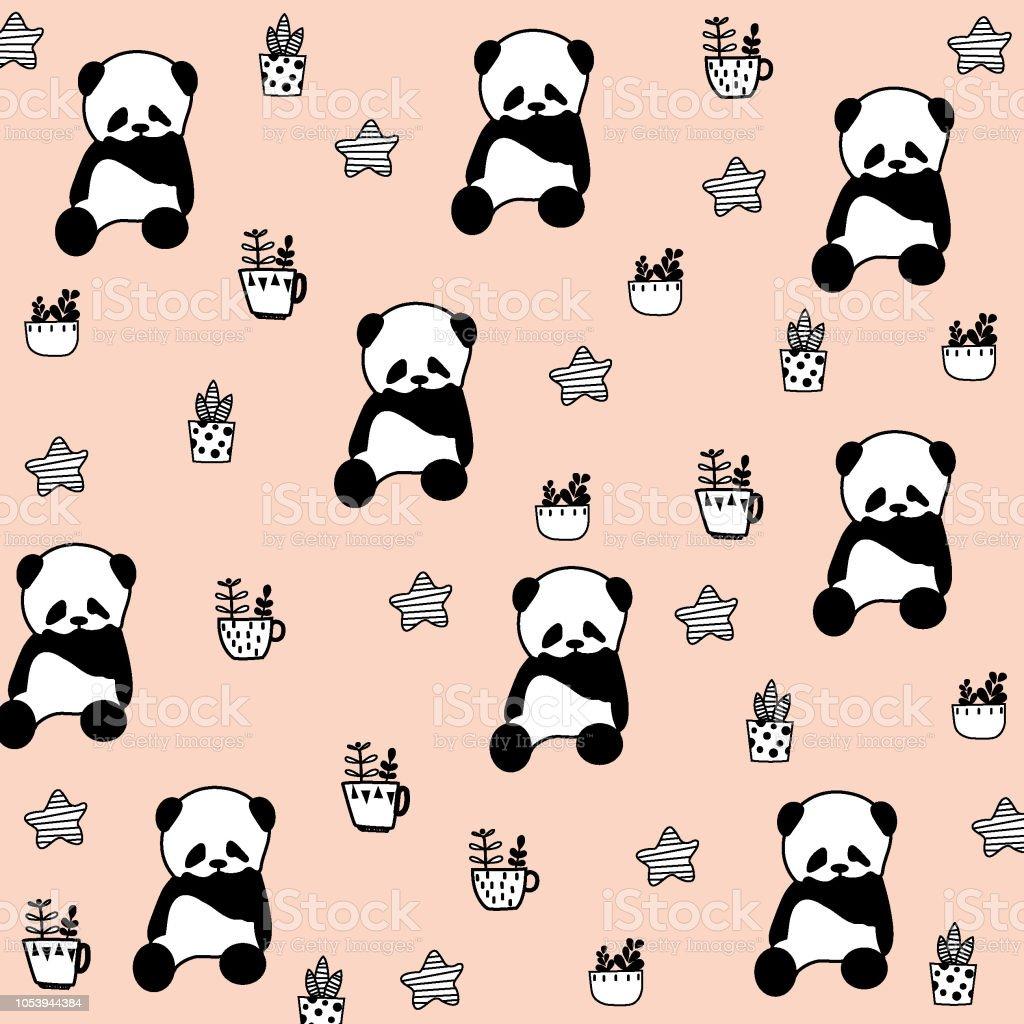 Bear seamless pattern polar bear panda vector isolated wallpaper background illustration cartoon pink - Illustration - Illustration .