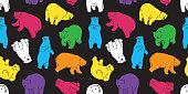 bear seamless pattern polar bear panda vector teddy background isolated repeat wallpaper color