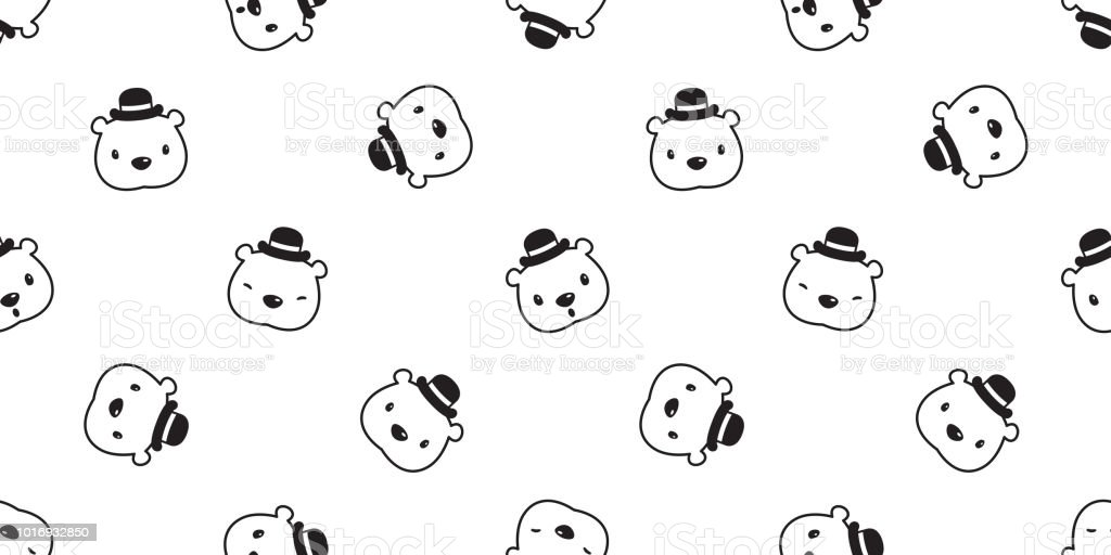 Bear Seamless Pattern Polar Bear Vector Hat Cap Panda Teddy