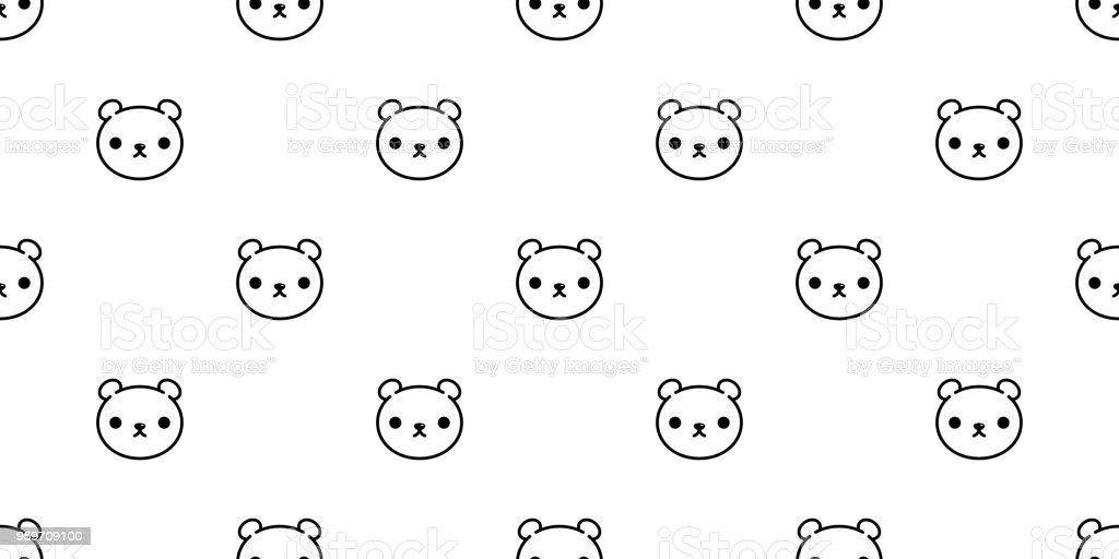 bear seamless pattern polar bear vector panda teddy background isolated wallpaper repeat royalty-free bear