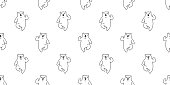 bear seamless pattern polar bear vector panda teddy running isolated background repeat cartoon doodle wallpaper