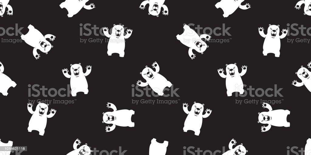 Bear Seamless Pattern Polar Bear Vector Scarf Isolated Panda Teddy