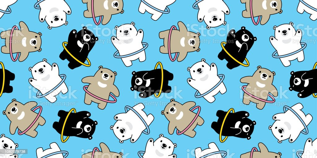 Bear Seamless Pattern Vector Hula Hoop Sport Polar Bear