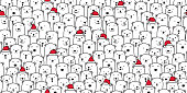 Bear seamless pattern vector polar bear Christmas Santa Claus Xmas hat scarf isolated cartoon illustration tile background repeat wallpaper doodle