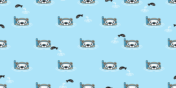 Bear seamless pattern vector polar bear diving swimming pool scarf isolated cartoon illustration tile background repeat wallpaper doodle