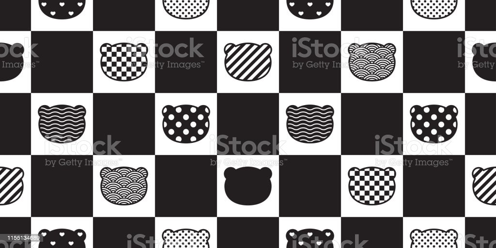 Bear seamless pattern vector polar bear head checked polka dot heart...