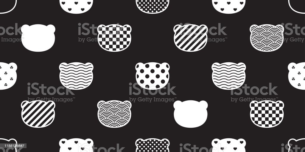 Bear seamless pattern vector polar bear head polka dot checked heart...