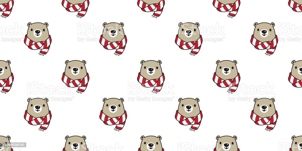 Bear seamless pattern vector polar bear head scarf isolated cartoon...