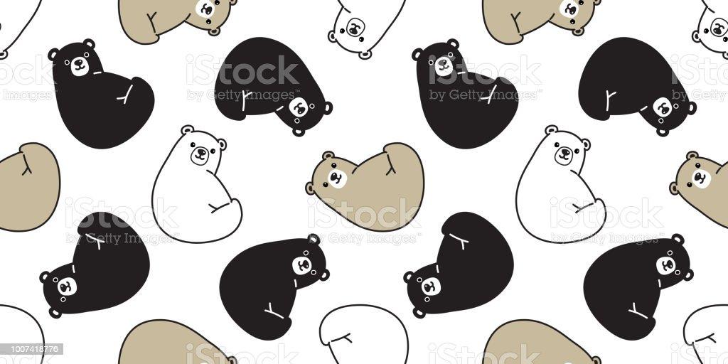 Bear Seamless Polar Bear Vector Pattern Panda Teddy Scarf Isolated