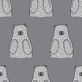 Bear Seamless Vector Pattern Gray