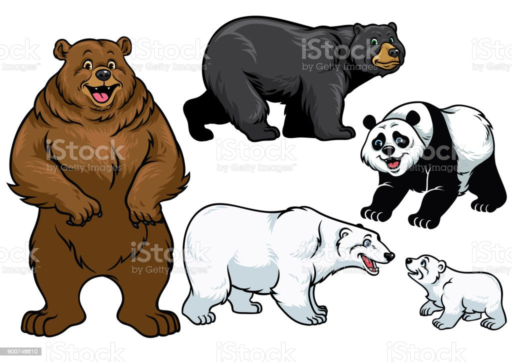bear set in cartoon style vector art illustration
