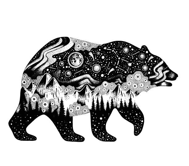 silhouette für t-shirt druck oder temporäre tattoo zu tragen. handgezeichnete surreale design für bekleidung. schwarzes tier, nacht waldlandschaft. vintage vektor-illustration, skizze, die isoliert auf weißem hintergrund - landschaftstattoo stock-grafiken, -clipart, -cartoons und -symbole