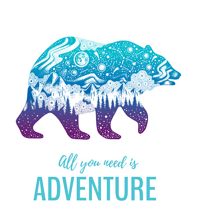 Bear silhouette for t-shirt print with slogan. Hand drawn surreal design for man apparel. Blue animal, night forest landscape and text. Vintage vector illustration, sketch isolated on white background