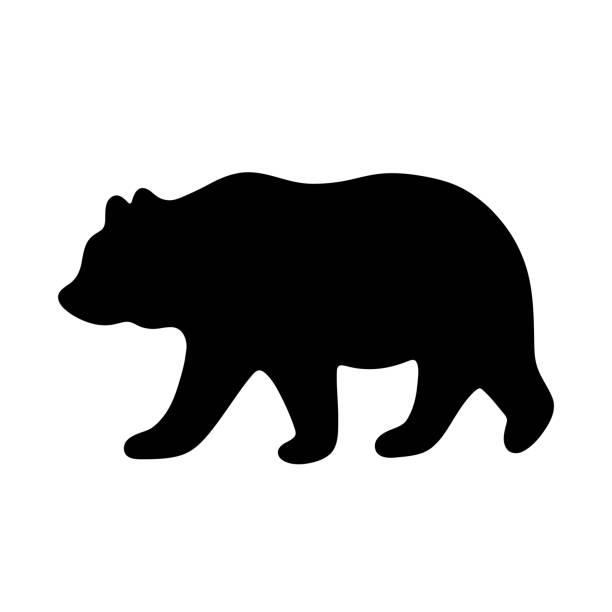 Bear silhouette. Vector illustration Bear silhouette. Vector illustration isolated on white background for print and poster. Typography design. bear stock illustrations