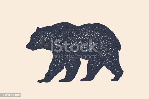 Bear, silhouette. Vintage logo, retro print, poster for Butchery meat shop, bear silhouette. Logo template for meat business, meat shop. Isolated black white silhouette bear. Vector Illustration