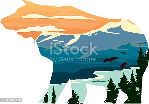Vector illustration of a Bear silhouette with Rocky Mountain ridge with lake bed and trees.  Fully editable EPS 10.