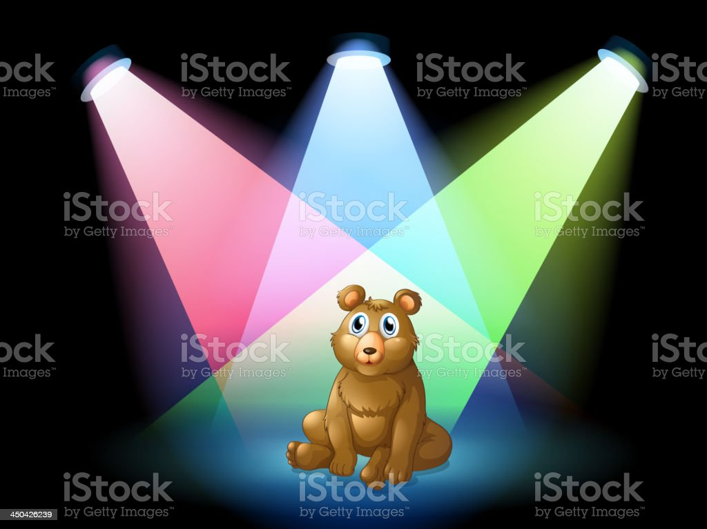 bear sitting at the center of stage with spotlights royalty-free stock vector art
