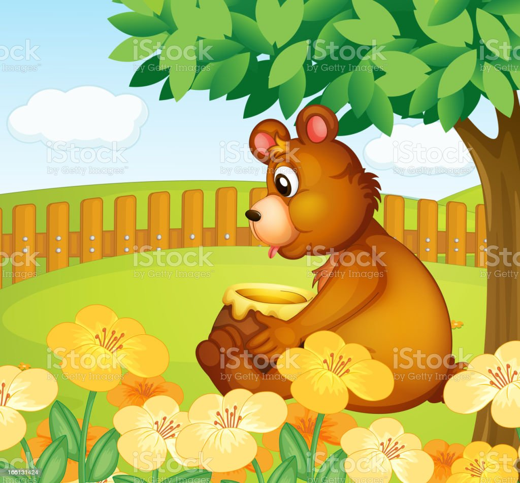 Bear sitting in a beautiful garden royalty-free stock vector art