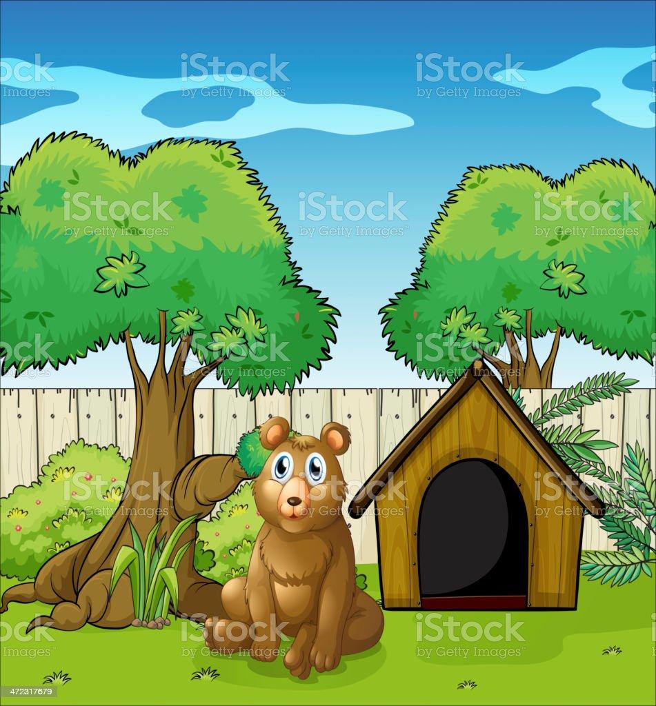 Bear sitting inside the fence vector art illustration