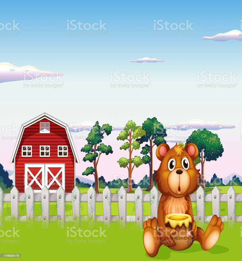 Bear sitting outside the fence at farm royalty-free bear sitting outside the fence at farm stock vector art & more images of agriculture