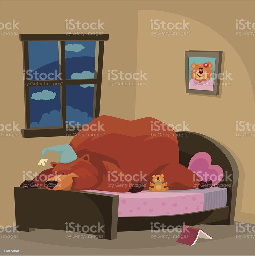 bear sleeping vector art illustration