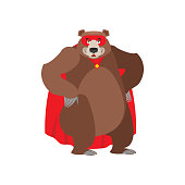 Bear superhero. Super Grizzly in mask and raincoat. Strong beast