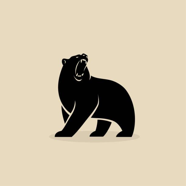 ilustrações de stock, clip art, desenhos animados e ícones de bear symbol - isolated vector illustration - urso
