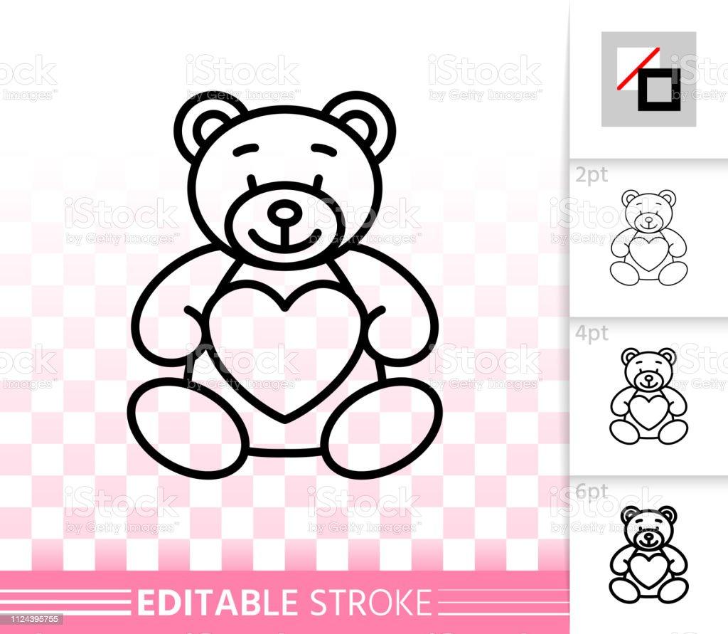 Bear teddy cute toy simple black line vector icon - ilustração de arte vetorial