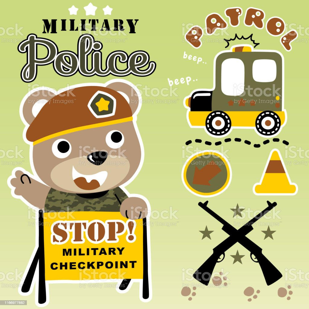 Bear The Funny Military Police With Military Equipment Kids