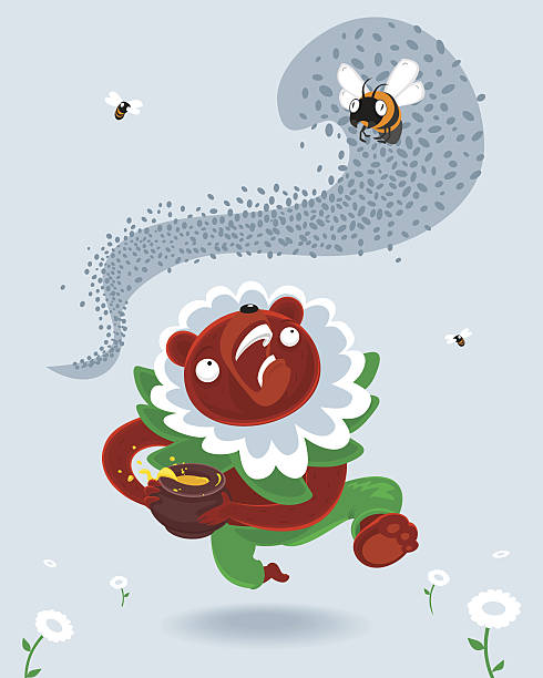 Bear thief Bear thief swarm of insects stock illustrations