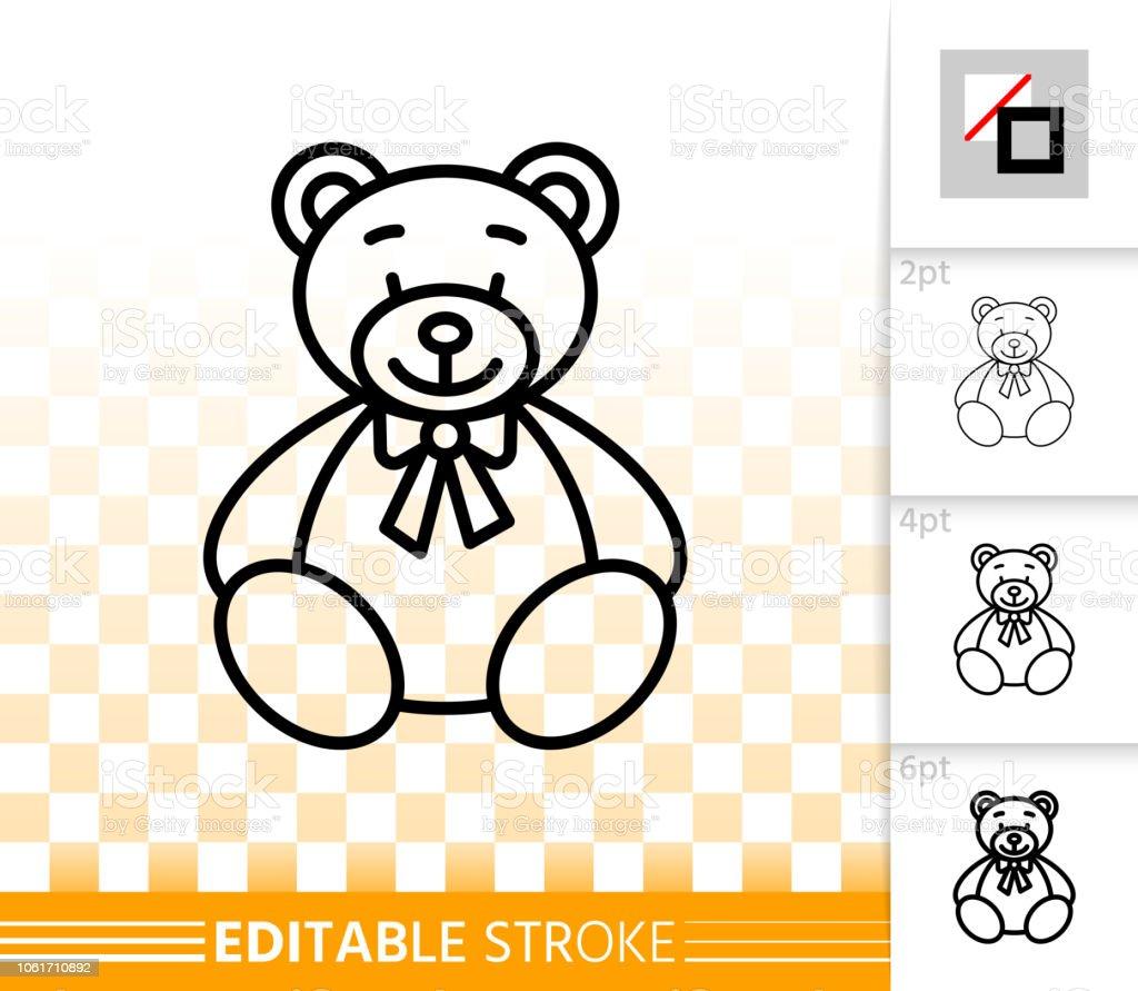 Bear Toy simple black line teddy plush vector icon - ilustração de arte vetorial