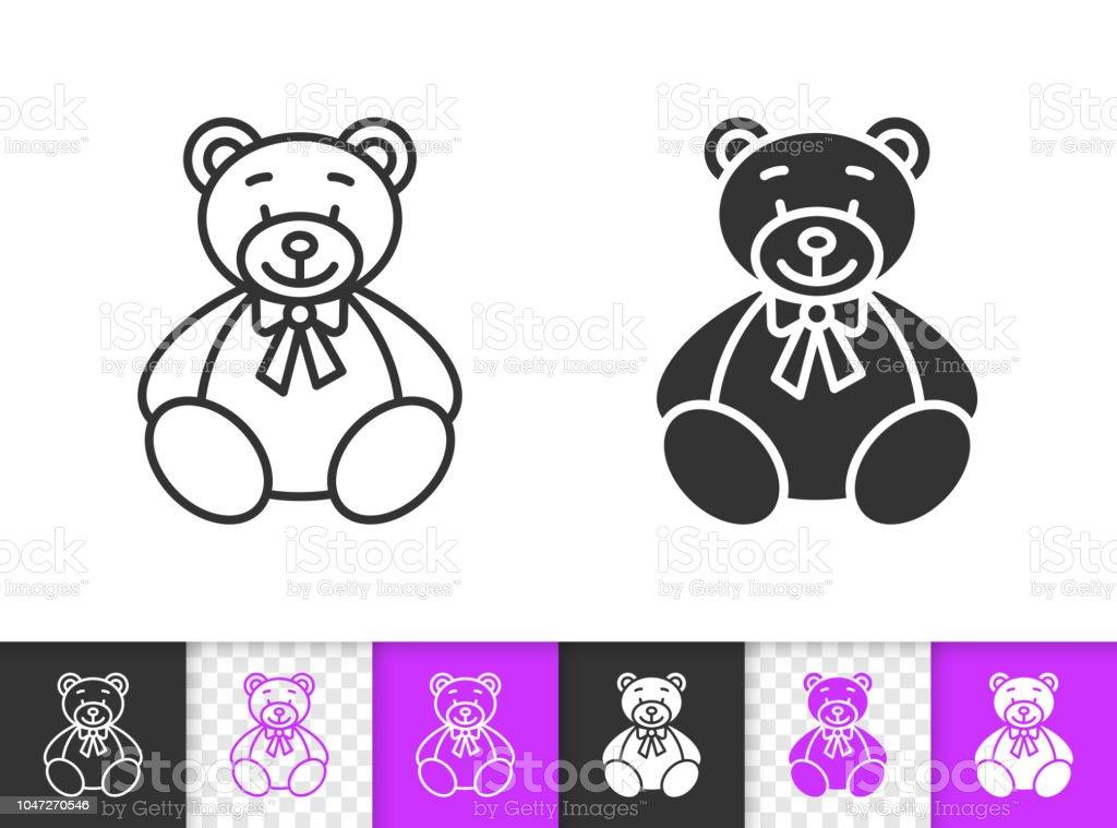 Bear Toy simple black line vector icon - ilustração de arte vetorial