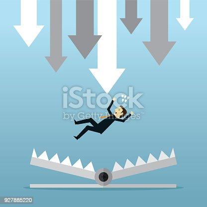 Businessman, Cartoon, Failure, Trap, Finance