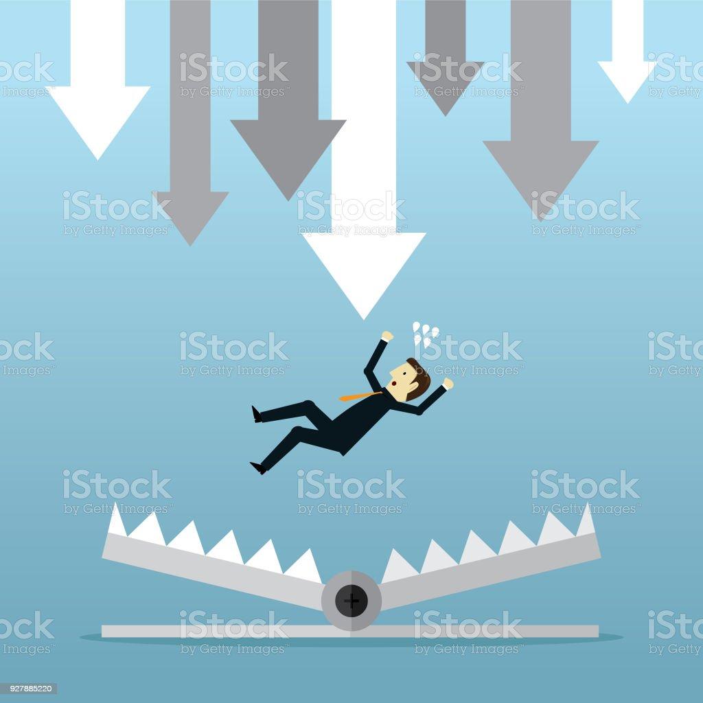 Bear trap and businessman vector art illustration
