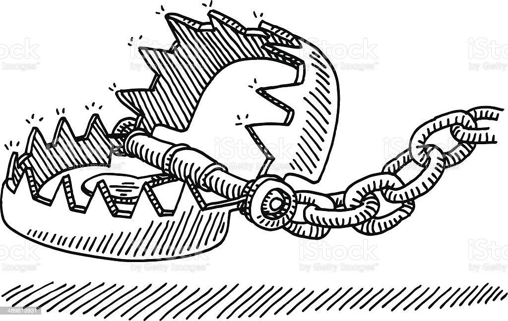 Bear Trap Drawing vector art illustration