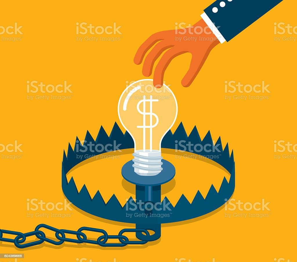 Bear trap with business ideas vector art illustration