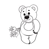 Teddy bear with a bouquet of flowers. Vector illustration. Greeting card.