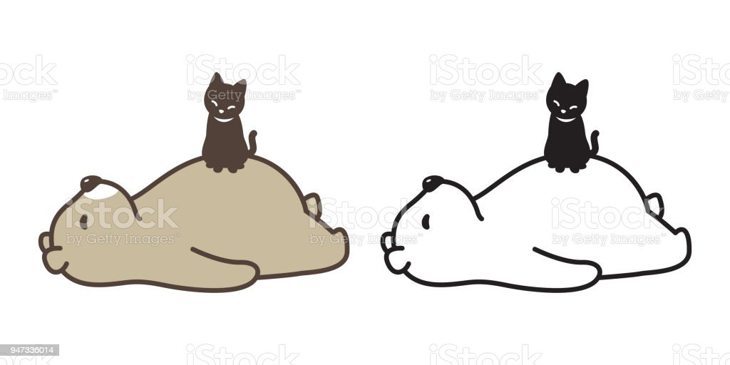 bear vector polar bear cat icon logo illustration sleeping character cartoon vector art illustration