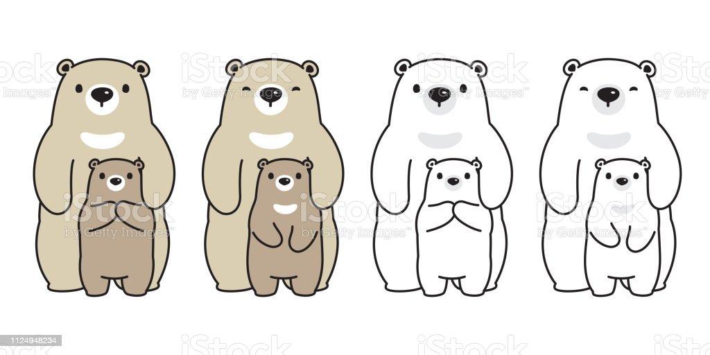 Bear Vector Polar Bear Family Cartoon Character Icon Logo Honey Illustration Symbol Doodle Stock Illustration Download Image Now Istock