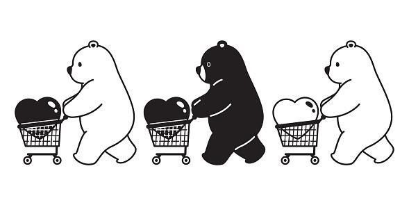 Bear vector polar bear heart valentine shopping cart bag cartoon character icon logo illustration