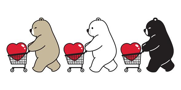 Bear vector polar bear heart valentine shopping cart bag cartoon character icon logo illustration doodle