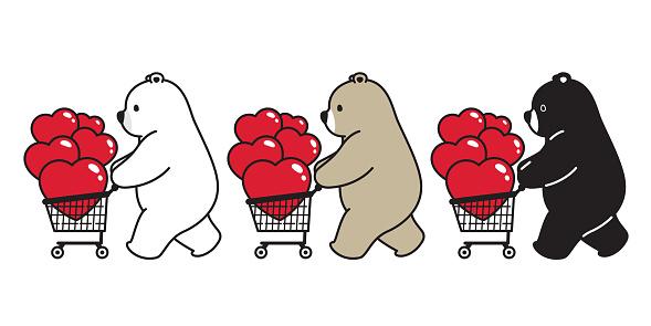 Bear vector polar bear heart valentine shopping cart bag character cartoon icon logo illustration doodle
