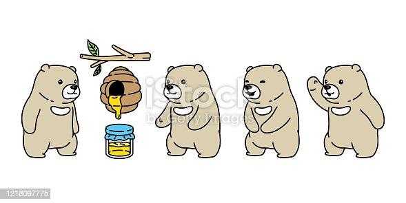 istock Bear vector polar bear honey bee jam icon logo teddy cartoon character symbol illustration doodle design 1218097775