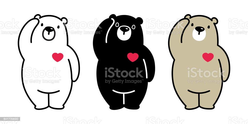 Ilustración De Vector De Oso Polar Oso Panda Ilustración Corazón