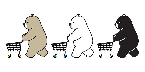 Bear vector polar bear shopping cart bag cartoon character icon logo illustration doodle