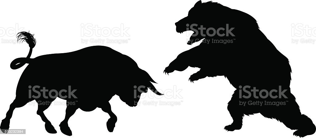 Bear Versus Bull Silhouette vector art illustration